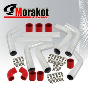 Universal Car Auto 3 Aluminum 8piece Turbo Intercooler Piping Kit Polished red