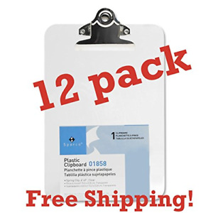 Value Pack Clipboards Of 12 Mini small Transparent Clipboard Inches By Sparco