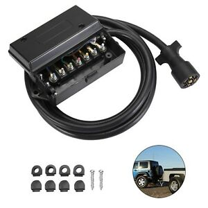 Bunker Indust 7 way Trailer Heavy Duty Plug Cord With 7 Gang Junction Box 8