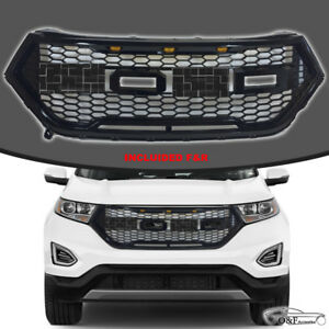 Fit 16 17 Ford Edge Front Grille Raptor Style Mesh Hood Gloss Black Grill W Led