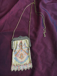 Art Deco Whitting And Davis Mesh Purse W Geometric Design Stamped Excellent