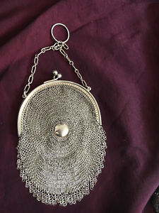 Victorian Antique Mesh Silver Purse Stamped Excellent