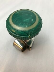 Vintage Bakelite Santay Green Marbled Suicide Spinner Knob With Inlay See Damage