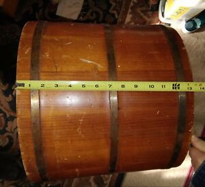 Putney Basketville Vermont Large Wooden Bucket Americana Huge Firkin Sugar