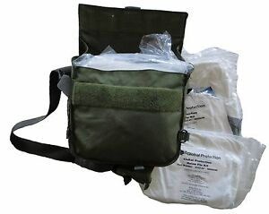 2 Chemical Bugout Bags W 8 Tyvek Hooded Suit Kits All New In Military Carry Bag