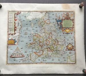 Vintage Saxton S Map Of England Wales 1579 Print 1981 British Library Taylowe