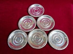 Set Of 6 Antique Rogers English Gadroon Sterling Silver 3 Butter Pats Coasters