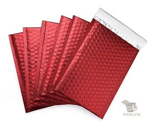 100 000 Matte Metallic Red Poly Bubble Mailers 4x8 inner 4x7