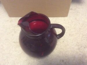 Antique Ruby Red Glass Drink Pitcher