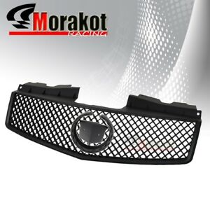 Cadillac Cts 03 07 Crossweave Jdm Abs Front Bumper Hood Grille Grill Black