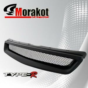 Honda Civic 99 00 Jdm Front Bumper Grille Grill Black Type R Style With Emblem
