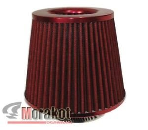 Red Universal 3 Inch 76mm High Flow Cold Air Short Ram Intake Filter Dry Cone