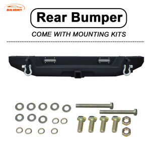 For 07 18 Jeep Wrangler Jk Rear Bumper With Led Lights D Rings 2 Hitch Receiver