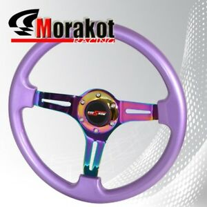 350mm 1 75 Deep Dish Dish Heavy Duty Steering Wheel Neo Chrome Metalic Purple