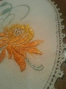 Antique Doily Silk Embroidered Era Huge Pumpkin Silk Flowers Primitive Topper