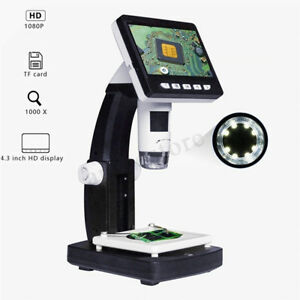 1000x 4 3 1080p Portable Lcd Digital Microscope Magnifier Height Adjustable Us