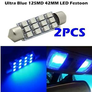 2x Blue 12 2528 smd Led Interior Dome Light Bulb 40 42mm 211 211 2 212 2 578 571