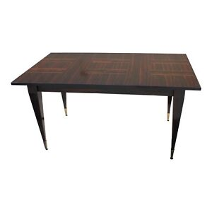 Beautiful Art Deco Exotic Macassar Ebony Writing Desk Dining Table Circa 1940s