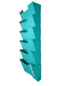 Tiffany Blue Wall Mount Hanging File Holder Organizer 6 Pack Durable Steel