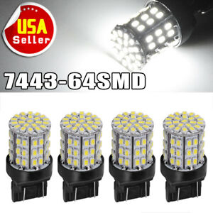 4x White 7443 7440 64 Smd 1206 Chip Backup Reverse Parking Led Light Bulbs T20