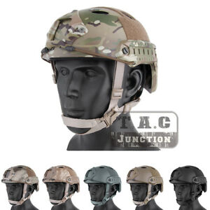Airsoft Helmet Emerson FAST Helmet PJ Type Adjustment w NVG Shroud + Side Rail