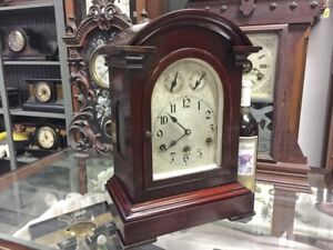 Beautiful Rare C Werner German Cherry Wood Westminster Chime Mantle Parlor Clock