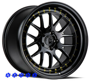 Aodhan Ds06 18 15 Black Staggered Wheels 5x4 5 Mesh 94 98 99 04 Ford Mustang Gt