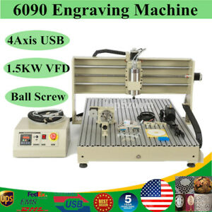 Engraver 4 Axis Cnc 6090 Router Engraving Machine Milling Drilling 1500w Usb