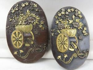 Antique Meiji Japanese Shakudo Pair 2 Buttons Earrings