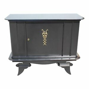 French Art Deco Ebonized Dry Bar Or Sideboard Circa 1940s As Is
