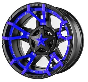17 Inch Black Blue Rims Wheels Ford F150 Truck Expedition 17x9 Lifted Xd Xd827