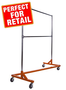 Heavy Duty Commercial Garment Rolling Z Rack Clothe Durable Square Tubing Orange