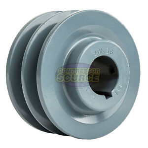 3 75 Cast Iron 1 1 8 Shaft Pulley Sheave Dual 2 Groove V Style B Belt 5l New