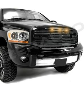 Big Horn 3x Led Gloss Black Packaged Grille shell For 06 08 Dodge Ram 1500 2500