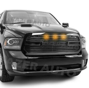 Big Horn Ii Led Gloss Black Package Grille Grille Shell For 13 18 Dodge Ram 1500
