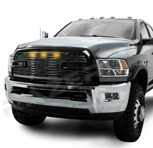 10 18 Dodge Ram 2500 3500 Big Horn Ii 3x Led Gloss Black Packaged Grille shell