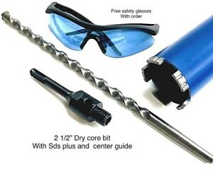 2 1 2 Dry Core Bit Sds Plus Adapter Center Guide Rotary Hammer Drill 2 5