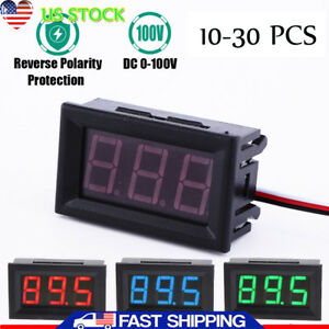 10 30pc Mini Red Blue Green Led Dc 100v Voltmeter Gauge Volt Panel Meter Display