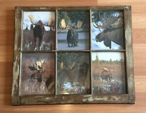 Old Vtg Antique Wood Rustic Window Picture Country Home Decor 28 X 24 Frame