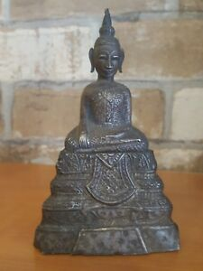 19c Antique Silver Seated Buddha Statuette 5 Cambodia Burma Laos Thai Rare