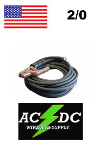 100 Ft 2 0 Welding Cable Lead With Stinger Lug Black