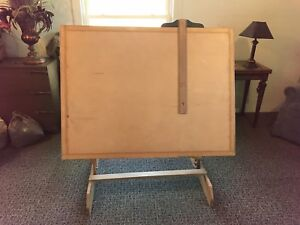 Wooden Drafting Table Vintage Adjustable Rustic Blueprint Station Work Desk Art