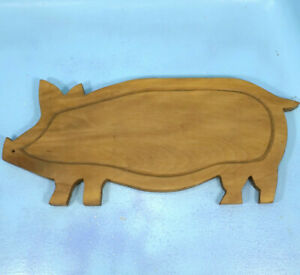 Antique German Art Deco Black Forest Wood Carving Cutting Board Pig C1920s