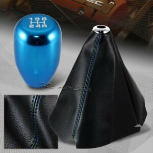 Blue Stitch Leather Manual Shift Boot Tr Blue 5 speed Shifter Knob Universal
