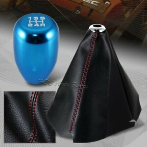 Jdm Red Stitch Pvc Leather Manual Shift Boot Type R Blue 5 Speed Shifter Knob