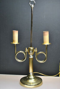 Vintage Alsy Brand Brass Candlestick Style Lamp Twin Arm French Horn Design