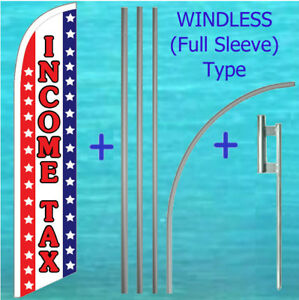 Income Tax Windless Banner Flag Pole Mount Kit Tall Feather Advertising Sign