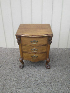 58905 Oak Bow Front Nightstand End Table With Jewelry Tray S