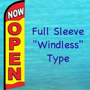 Now Open Windless Feather Flag Tall Curved Top Vertical Advertising Banner Sign