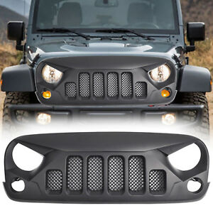 2007 2018 Jeep Wrangler Jk Unlimited Front Grill Grille Angry Skull Grill